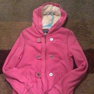 PINK VS Sherpa sequin jacket